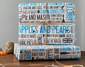 Cockney Rhyming Slang Gift Wrap, pack of 6 sheets