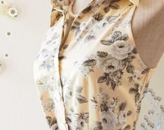 SALE Pale Brown Dress Tea Party Dress Floral Dress Floral Summer Dress Floral Bridesmaid Dress Shirt Vintage Inspired Sundress  - XL