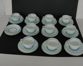 32 Pieces Minton Porcelain Cheviot Blue Cup Saucer Desert for Sharon Duon