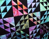 Batik Patchwork Quilt, Queen / Double Size, Rainbow Prism Handmade by PingWynny