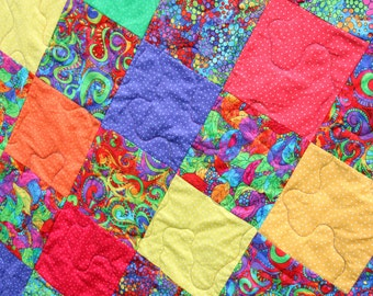 CLEARANCE SALE Rainbow Patchwork Quilt, Handmade by PingWynny