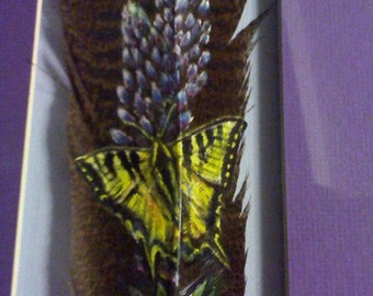 Hand Painted Feather - Butterfly, Swallow Tail on Wisteria