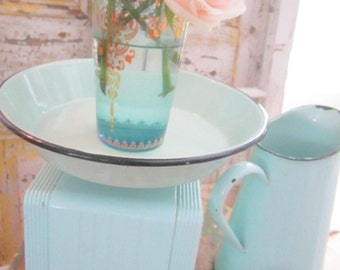 Vintage seafoam green scale FREE SHIPPING  farmhouse shabby chic prairie cottage