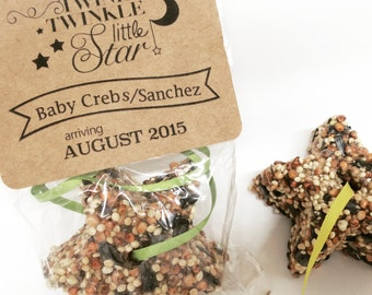 12 Baby shower favors, bird seed star favors, set of 12 bird seed stars twinkle twinkle little star
