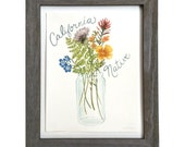 California Native Flowers Art - Original Gouache Wildflower Painting
