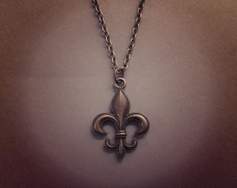 Fleur de Lis Charm Pendant Antique Bronze Handmade Necklace Jewellery Gift for Her