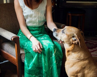1960s Maxi Skirt in Bright Green
