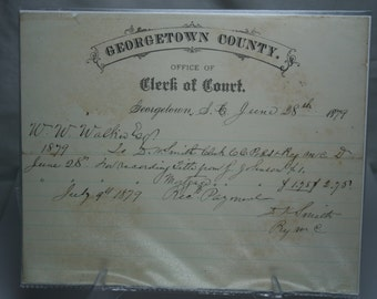Antique Georgetown County Recording Title - 1879
