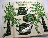 Vintage Linen Tea Towel, Early American Tinware, Parisian Prints Tea Towel, Green Dish Towel, Toleware Kitchen Towel, Folk Art Kitchen Decor