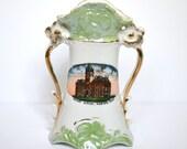 Marion Kansas Souvenir Vase, Court House Memorabilia, Made in Germany, Green Porcelain Souvenir Vase, Gold Accents