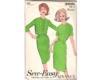 Vintage Sewing Pattern, Ladies Dress Pattern, Womens Jacket Pattern, 1960s Dress Pattern, Advance Pattern 3001, Pattern Bust 32, Waist 25