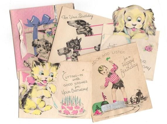 Carta Da Parati Bambini Fanny Dogs: Vintage Bambini Compleanno Carte Lotto 5 Biglietti Di