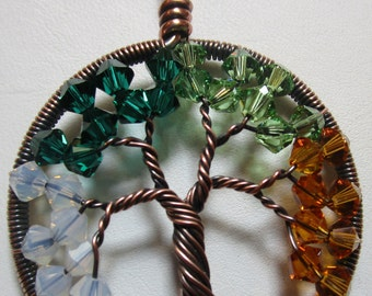Tree of Life, Four Seasons, Antiqued Copper with Swarovski Crystals Four Season Necklace, Four Seasons Jewelry
