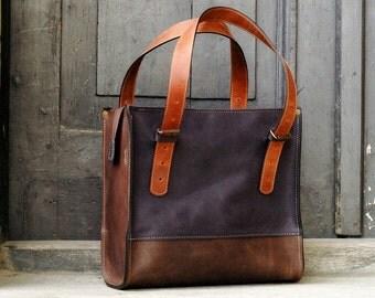 leather handbag natural leather purse Squer art design