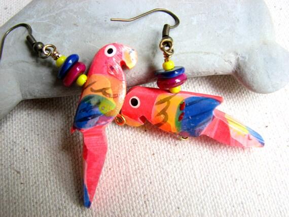 Carved Wood Parrot Earrings - Neon Pink Tropical Color Jewelry - Parrot Jewelry, Tropical Earrings, Vacation Dangle Earring