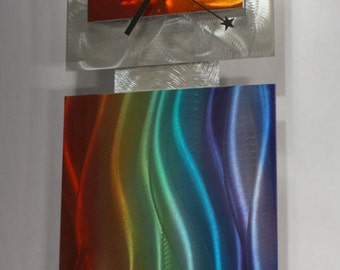 Wilmos Kovacs Clock Modern Abstract Metal Wall Art Rainbow Sculpture Home Decor - W922