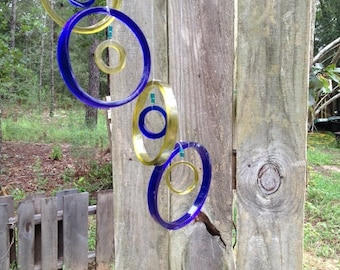 blue, yellow, green, clear, GLASS WINDCHIMES from RECYCLED bottles,  garden decor, wind chimes, mobiles, musical, windchimes
