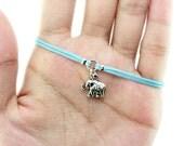 Elephant Charm Bracelet, Baby Blue Cord Bracelet, Friendship Bracelet