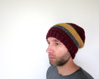 Warm Hat Slouch Beanie Mens Accessories Striped Cap Womens Slouchy Oversized Knitted Fashion Beret Unisex Burgundy Golf Mustard Yellow