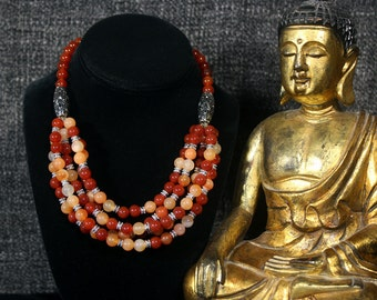 Carnelian, Multi Strand Necklace, Ethnic Jewelry, Tribal Necklace, Layered Necklace, Statement Necklace, Bib Necklace, Boho Hippie, Beadwork
