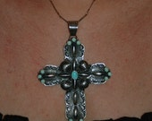"Sold to R Huge Vintage Native American Navajo Darryl Becenti Sleeping Beauty Turquoise Cross Necklace 4 3/4"" Tall!"