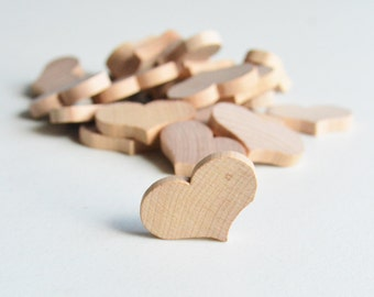 "25 Miniature Wooden Country Hearts 1-1/4"" x 3/16"""