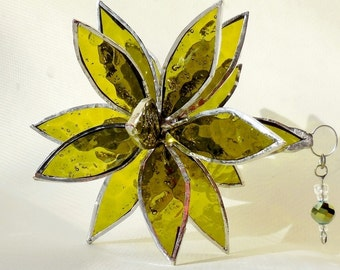Olive green Flower. 3D Stained Glass Suncatcher. Flower of Life, Swirl.