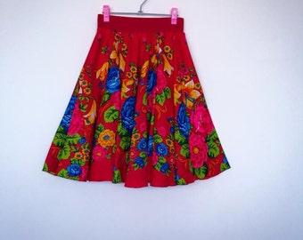 Bohemian Skirt , Red Flower Skirt , Red Gipsy Skirt , Flower Skirt , Ethno Skirt , Folk Skirt , Urban Skirt , Boho Red Skirt