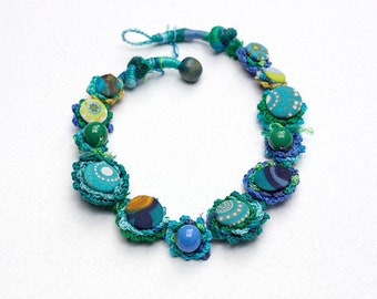 Blue green necklace, fiber crochet jewelry with fabric buttons and clay beads, OOAK