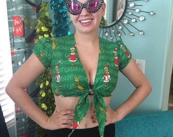 How the Grinch Stole Christmas Crop Top Christmas Holiday Green Grinch Festive Santa