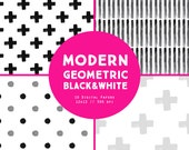 Watercolor Black and White Modern Geometric Pattern Digital Paper - black white gray painted swiss cross plus sign triangle circle stripes