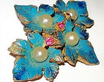 """Blue Enamel Brooch Pin Pink Rhinestones & Faux Pearls Leaf Flower Design 2 1/4"""" Vintage"""