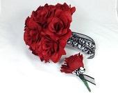 Red Roses Bridal Bouquet, Grooms Boutonniere, 2 Pc Bouquet Set, Wedding Flowers, Red Silk Roses, Bridal Bouquet, Floral Bouquet