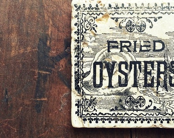 4pc Vintage Fried Oysters Coasters, Tumbled Marble