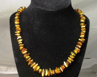Baltic amber polished chip bead necklace - natural fossil amber - ready to wear 20-25 grams - 21 inch