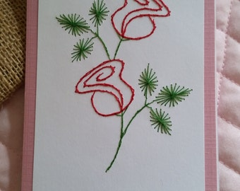 Stitched Red Roses Card