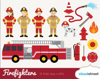 buy 2 get 1 free Firefighters Clip Art / Firefighter Clipart / fire truck fireman firewoman vector graphics illustration / commercial use ok