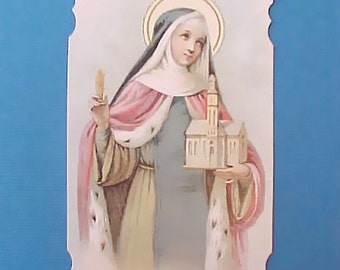 Lovely Vintage Prayer Card-St. Edwig-Queen of Poland