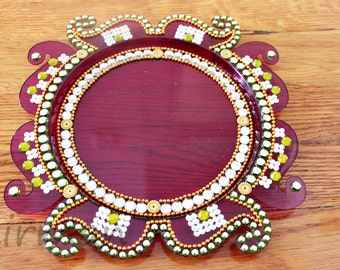 Kalash pooja thali decorative henna mehndi design for Aarti dish decoration