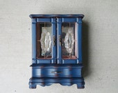 Navy Blue SHABBY CHIC Jewelry Box / Armoire Cabinet Case