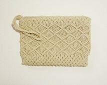 MACRAME' CLUTCH BAG - Lined, with Zip Closure & Wrist Strap - Natural, Hand Knotted Cotton Cord - Cream Color