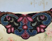 Vintage Beaded Applique - Dress or Purse Remnant - Hand Beaded Victorian Embellishment