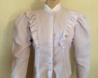 Vintage 70's, 80's prairie ruffle blouse