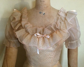 Vintage 60's, 70's peach Cinderella type formal.