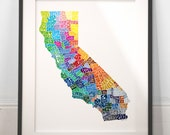 California art print, typography map art, california poster print, california wall decor, california typography, wedding gift, moving gift