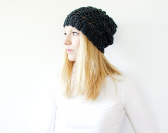 Slouchy hat crochet beanie womens beanie - the SUMTER - mercury grey - wool