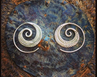 Boho silver feather spirals