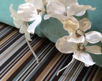 Bridal satin dogwood and pearl headband