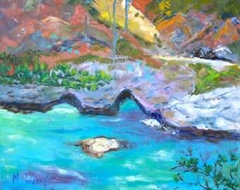 Big Sur California Landscape / 24 x 30 / Original Oil Painting, Julia Pheiffer State Park