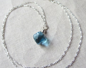 London Blue Quartz Faceted Cube and Sterling Silver Necklace